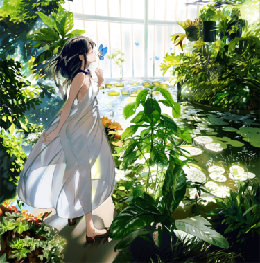 greenhouse white dress girl