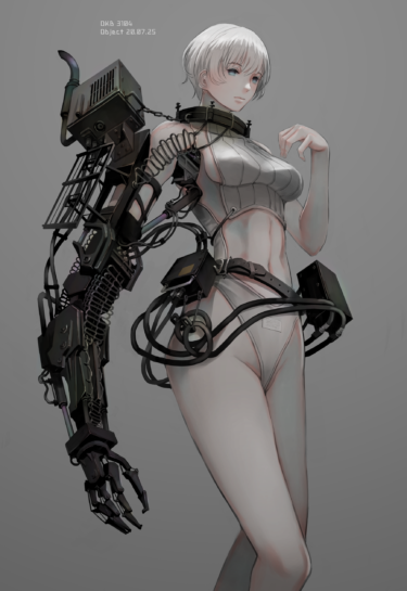 Girl with robotic arm digital painting