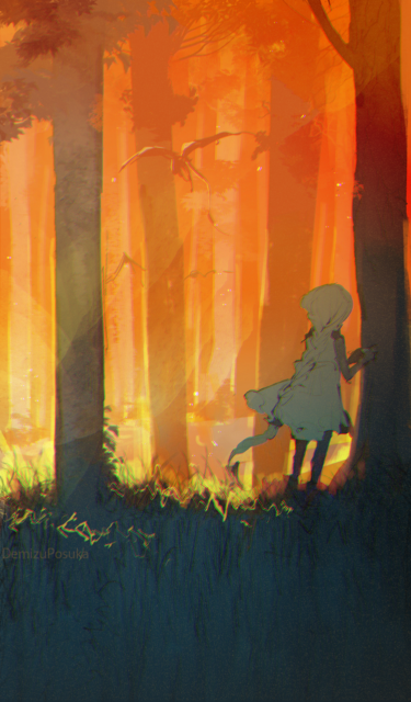 girl in the forest illustration