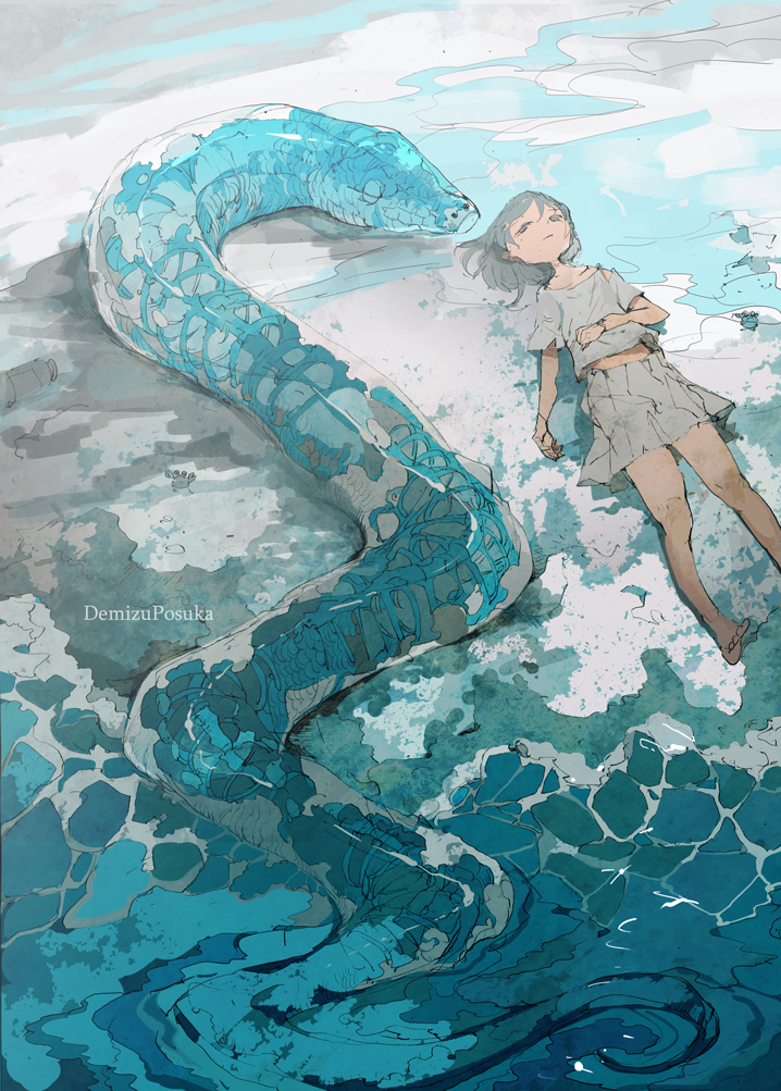 snake and girl painting