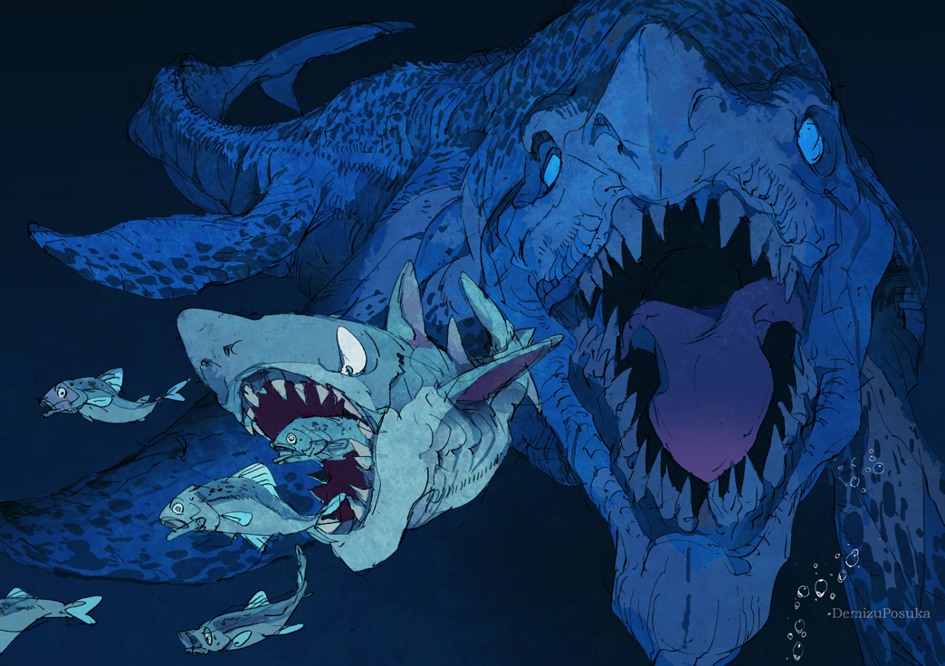 Giant fish chasing each other CG digital art