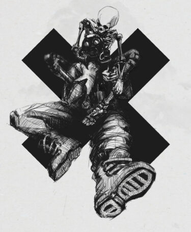 a gas mask soldier black and white illustration