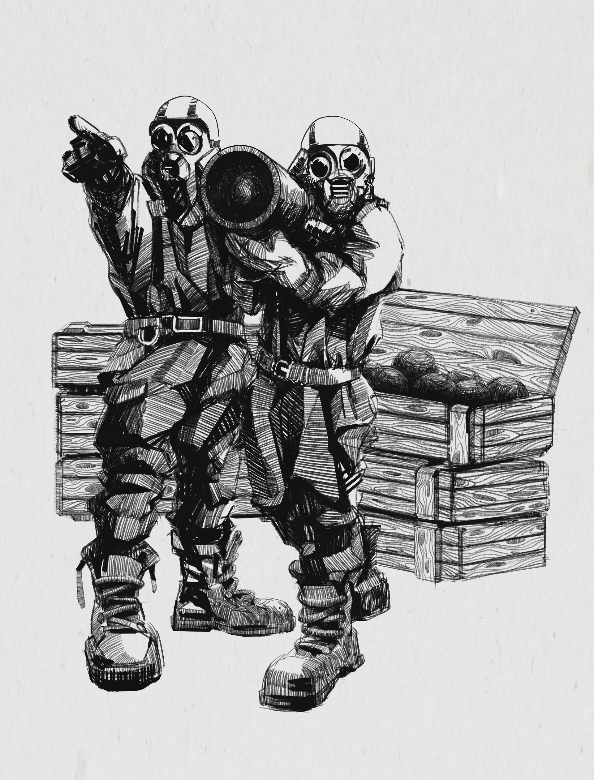 two gas mask soldiers