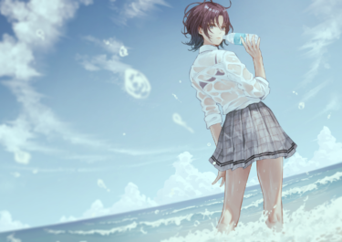 The Idolmaster: Shiny Colors, wet see-through clothed girl by the sea anime art